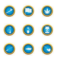 Drug dependence icons set flat style vector