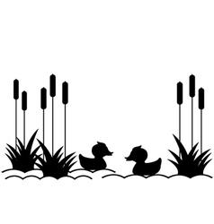 Ducklings in lake vector