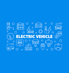 electric vehicle horizontal line banner ev vector image