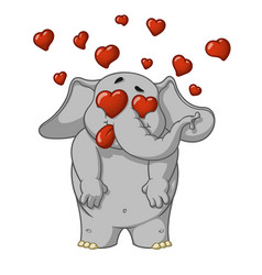 elephant very in love enamored many hearts vector image
