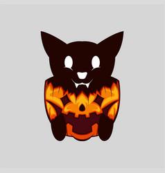 evil cut black cat on halloween pumpkin vector image