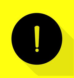 exclamation mark sign black icon with flat style vector image