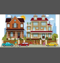 Family houses diorama vector