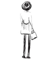 Fashion models sketch Girl standing backwards vector