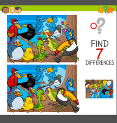 Find differences with birds animal characters vector