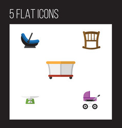 Flat kid set of children scales pram stroller vector