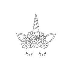 Flat line unicorn face icon vector