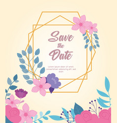 flowers wedding save date event floral vector image