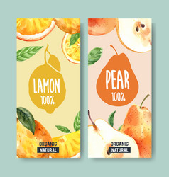 Flyer watercolor design with fruits theme lemon vector