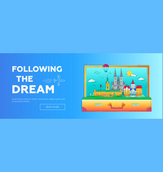 following the dream - line travel web page vector image