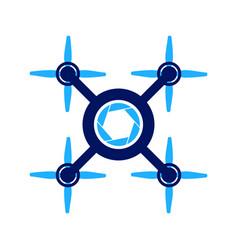 Four propeller aero drone symbol graphic logo vector