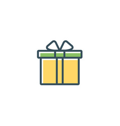 Gift box icon present flat line giftbox vector