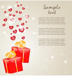 Gift boxes with gold ribbons and hearts vector image vector image