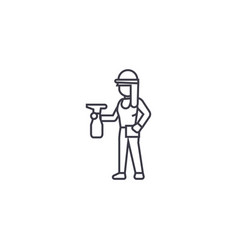 girl with a sprayer line icon sign vector image
