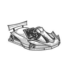 go kart sport car sketch engraving vector image