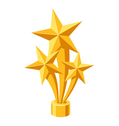 Gold prize icon with stars vector