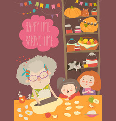 Grandmother and kids bake together at a kitchen vector