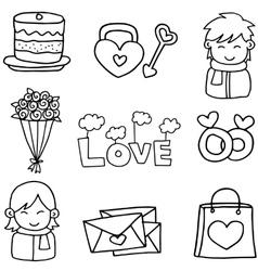 Hand draw of love set doodles vector
