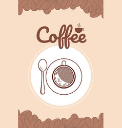 Hand drawing coffee card vector