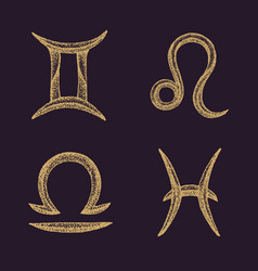 Hand drawn zodiac signs set vector