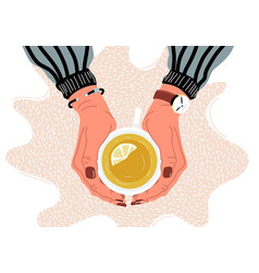 hands holding teacup top view flat vector image