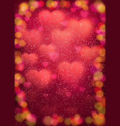 Heart background with cloud of blurred soft hearts vector