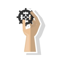Isolated hand holding gear design vector image
