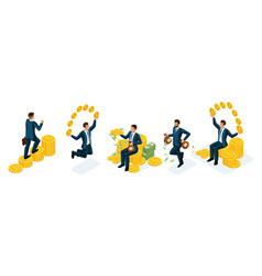 isometric businesspeople nabor concepts of earning vector image