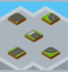 Isometric road set of strip road cracks and vector