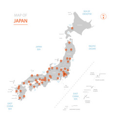 japan map with administrative divisions vector image