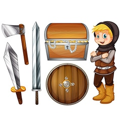 Knight with weapons and treasure vector