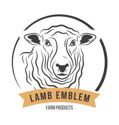 Lamb head silhouette emblem label vector