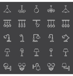 Lamp outline icons vector image