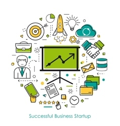 LineArt Concept - Successful Business Startup vector image