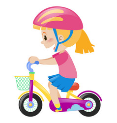 little girl wearing pink helmet riding bike vector image