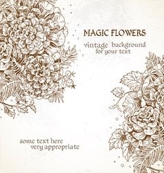 Magic flowers vintage background vector