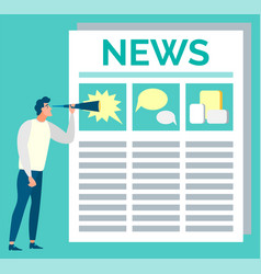 Man looking at newspaper page with pictures vector