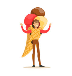 man wearing ice cream cone costume puppets food vector image