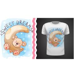 Moon and teddy - idea for print t-shirt vector