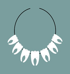 Necklace teeth decoration on neck indians vector