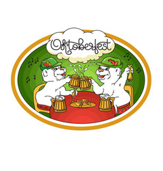 Oktoberfest card bears in friendly conversation vector
