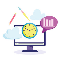 Online education computer clock pencil creativity vector
