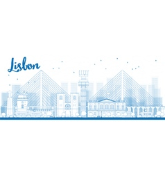 Outline Lisbon city skyline vector image