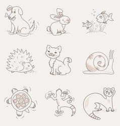 Pets set cat dog rabbit snail turtle ferret vector
