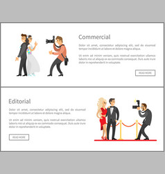 Photographer and paparazzi online banners set vector