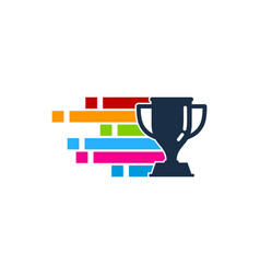 pixel art trophy logo icon design vector image