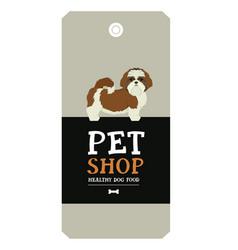 poster pet shop design label shih tzu geometric vector image