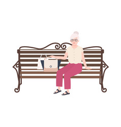 pretty old lady or grandmother sitting on street vector image