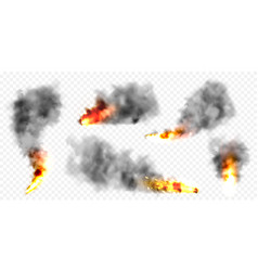 realistic black smoke clouds and fire flame blast vector image