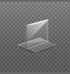 Realistic clear glass plate or table card holder vector